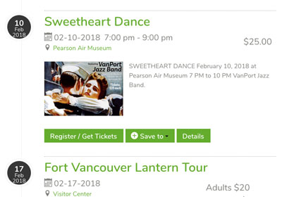 Screenshot of the events page on the Friends of Fort Vancouver page shows the timeline style event listing